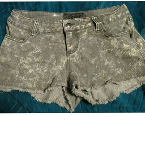 Grey distressed jean shorts